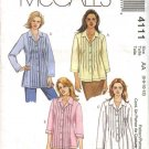 McCall's Sewing Pattern 4111 Misses Size 6-12 Pintucked Bodice Button Front Shirt Tunic