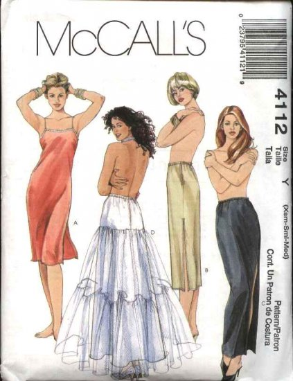McCall's Sewing Pattern 4112 Misses Size 4-14 Full Half Long Short Slips Petticoat Lingerie