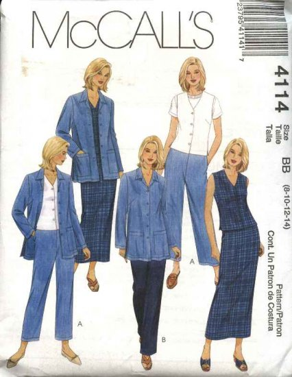 McCall's Sewing Pattern 4114 Misses Size 8-14 Wardrobe Jacket Vest Pants Straight Skirt