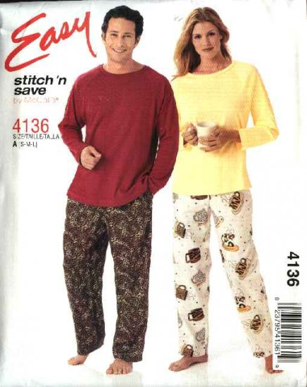 """McCall's Sewing Pattern 4136 M4136 Misses Mens Unisex Chest Size 31 1/2 - 40"""" Tops Pants Pajamas"""
