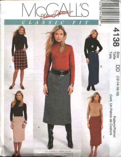 McCall's Sewing Pattern 4138 Misses Size 12-18 Palmer/Pletsch Classic Fit Wrap Long Short Skirts