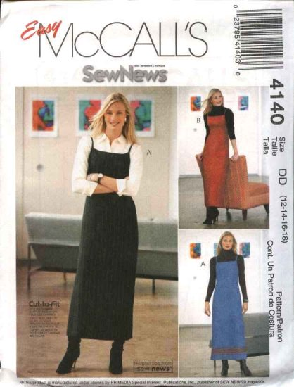 McCall's Sewing Pattern 4140 Misses Size 8-14 Easy Sew News Fitted Long A-line Jumper