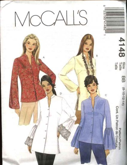 McCall's Sewing Pattern 4148 Misses Size 4-10 Button Front Long Sleeve Blouse Shirt Top Tunic