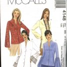 McCall&#39;s Sewing Pattern 4148 Misses Size 4-10 Button Front Long Sleeve Blouse Shirt Top Tunic
