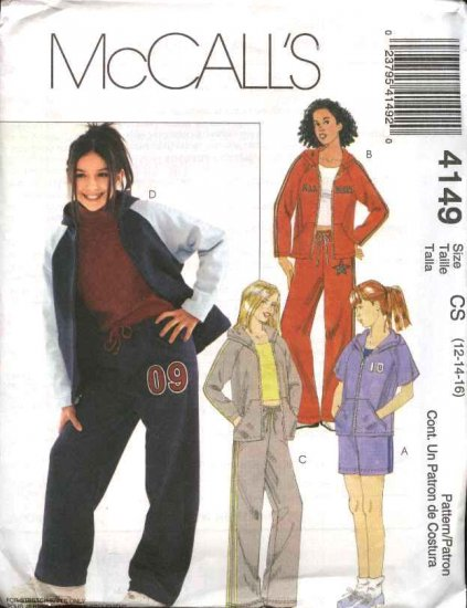 McCall's Sewing Pattern 4149 Girls Size 7-12 Knit Wardrobe Zipper Front Hooded Jacket Shorts Pants