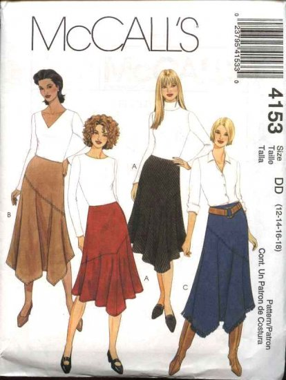 McCall's Sewing Pattern 4153 Misses Size 8-14 Flared Bias Asymmetrical Skirts