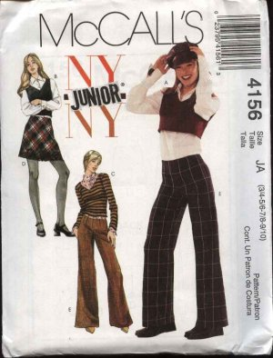 McCall's Sewing Pattern 4156 Junior Size 3/4-9/10 NYNY Wardrobe Pullover Tops Skirt Pants