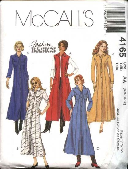 McCall's Sewing Pattern 4165 Misses Size 6-12 Classic Button Front Princess Seam Flared Dress