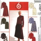 McCall's Sewing Pattern 4167 Misses Size 10-16 Easy Button Front Jackets Straight Flared Skirts Suit
