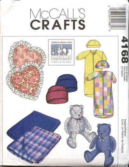 McCall's Sewing Pattern 4168 M4168 Baby Size 5-18# Bunting Hats Blanket Heart Pillow Teddy Bear