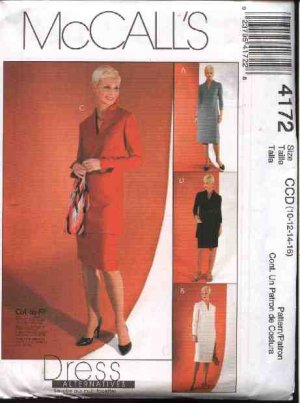 McCall's Sewing Pattern 4172 M4172 Misses Size 8-14 Straight Long Sleeve Dress Tunic Top Skirt