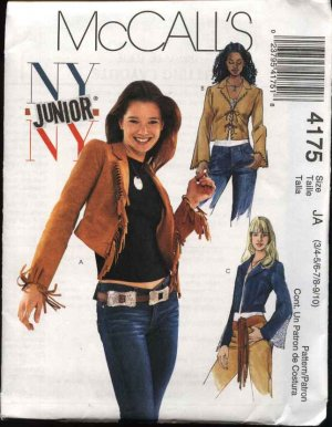 McCall's Sewing Pattern 4175 Junior Size 3/4-9/10 Lined Long Sleeve Suede Fringed Jacket