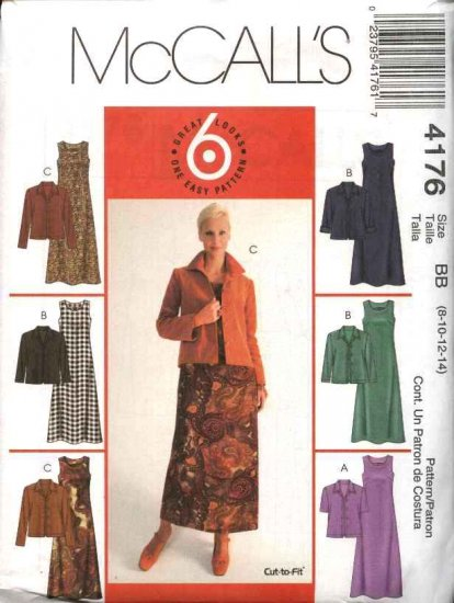 McCall's Sewing Pattern 4176 M4176 Misses Size 10-16 Easy Flared Dresses Button Front Jacket