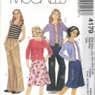 McCall's Sewing Pattern 4179 Girls Plus Size 10 1/2 - 16 1/2 Wardrobe Knit Cardigan Top Pants Skirt