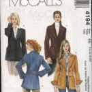 McCall's Sewing Pattern 4194 Misses Size 6-12 Lined Button Front Wide Lapel Jackets