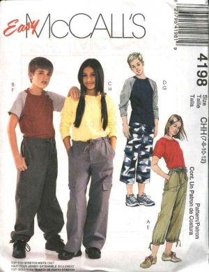 McCall's Sewing Pattern 4198 Boys Girls Size 12-16 Easy Knit Pullover Tops Long Cropped Pants