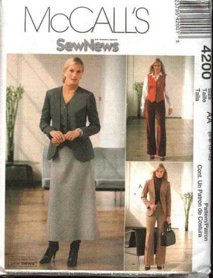 McCall's Sewing Pattern 4200 Misses Size 6-12 Sew News Wardrobe Jacket Vest Skirt Pants