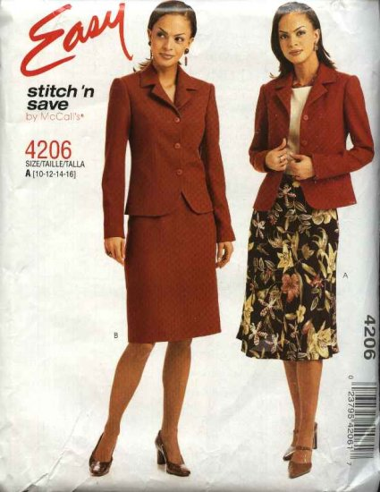 McCall's Sewing Pattern 4206 Misses Size 10-16 Easy Lined Jacket Straight Flared Skirts