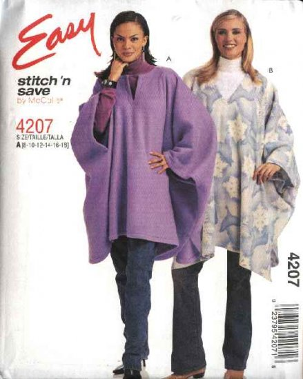 McCall's Sewing Pattern 4207 Misses Size 8-18 Easy Fleece Poncho Ruana
