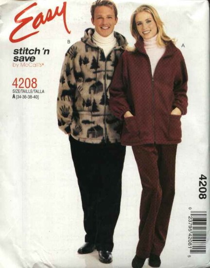 """McCall's Sewing Pattern 4208 Misses Mens Unisex Chest Size 34-40"""" Easy Zipper Front Jacket Pants"""