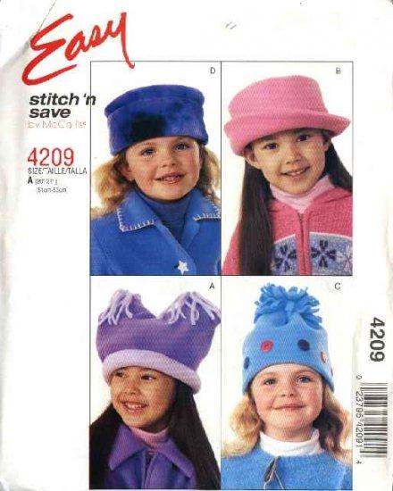 "McCall's Sewing Pattern 4209 Girls Size 20""-21"" Easy Fleece Hats"