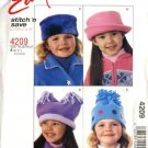 "McCall's Sewing Pattern 4209 Girls Size 20""-21"" Easy Fleece Hats"