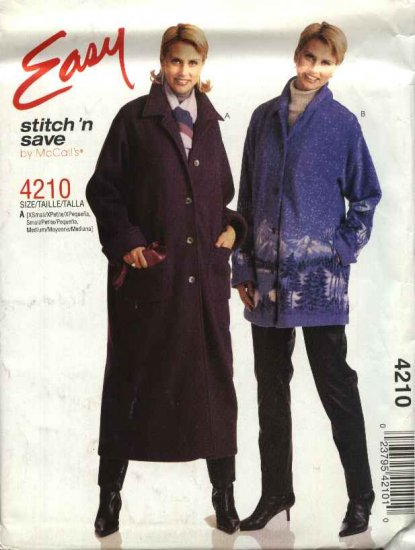 McCall's Sewing Pattern 4210 Misses Size 16-22 Easy Fleece Wool Button Front Coat Jacket