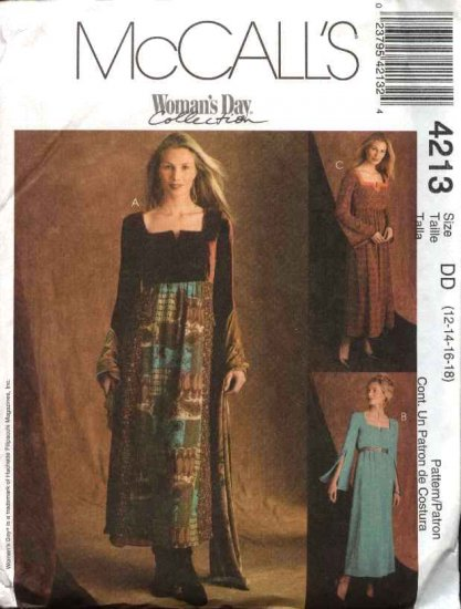 McCall's Sewing Pattern 4213 Misses Size 12-18 Long Sleeve Raised Waist Empire Dress