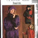 McCall's Sewing Pattern 4217 Misses Size 4-14 Zipper Front Fleece Unlined Jacket Hats