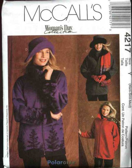 McCall's Sewing Pattern 4217 Misses Size 16-26 Zipper Front Fleece Unlined Jacket Hats