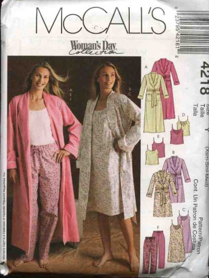 McCall's Sewing Pattern 4218 Misses Size 16-26 Bathrobe Robe Camisole Nightgown Pajama Pants