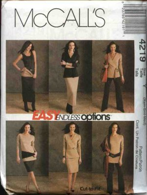 McCall&acirc;s Sewing Pattern 4219 Misses Size 16-26 Easy Wardrobe Knit Top Tunic Dress Pants Skirt Tube
