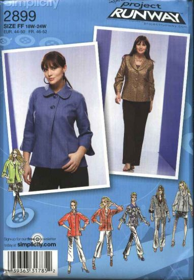 Simplicity Sewing Pattern 2899 womans Plus Size 26W-32W Short Jacket Collar Sleeve Variations