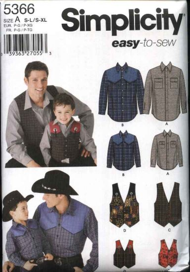 """Simplicity Sewing Pattern 5366 Mens Boys Chest Size 22-27"""", 34-48"""" Easy  Western Style Shirt Vest"""