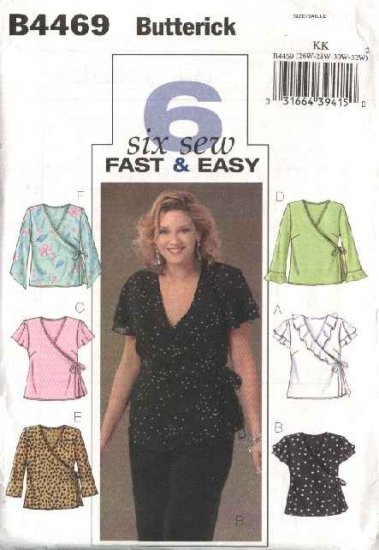 Butterick Sewing Pattern 4469 Womans Plus Size 18W-24W Easy Front Wrap Tops Blouses