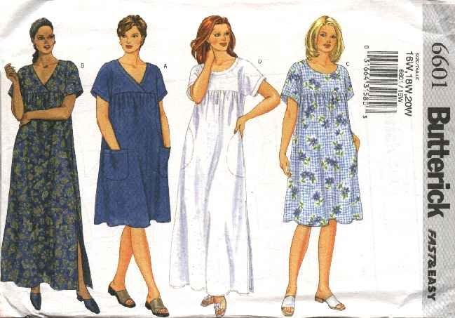 Butterick Sewing Pattern 6601 Womans Plus Size 16W-20W Easy Loose Fitting Summer Dress MuuMuu
