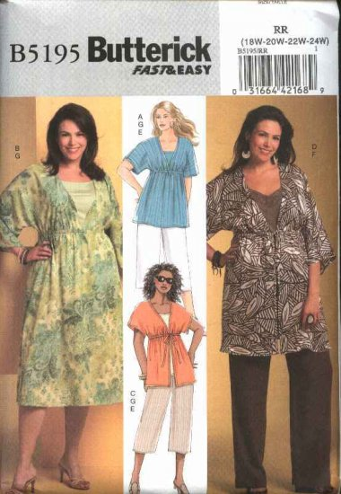 Butterick Sewing Pattern 5195 Womans Plus Size 18W-24W Easy Top Dress Tunic Pants Knit Tank Top