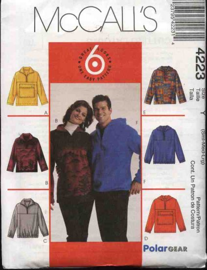 "McCall's Sewing Pattern 4223 Mens Misses Unisex Chest Size 34-44"" Easy Pullover Hooded Top Jacket"