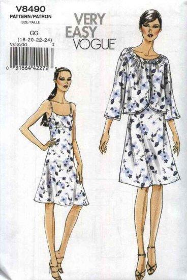 Vogue Sewing Pattern 8490 V8490 Misses Size 18-24 Easy Raised Waist Empire Slip Lined Dress Jacket