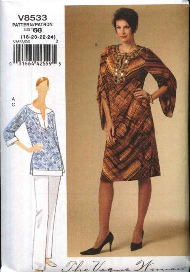 Vogue Sewing Pattern 8533 Misses Size 18-24 Easy Caftan Kaftan Style Tunic Short Dress Pants