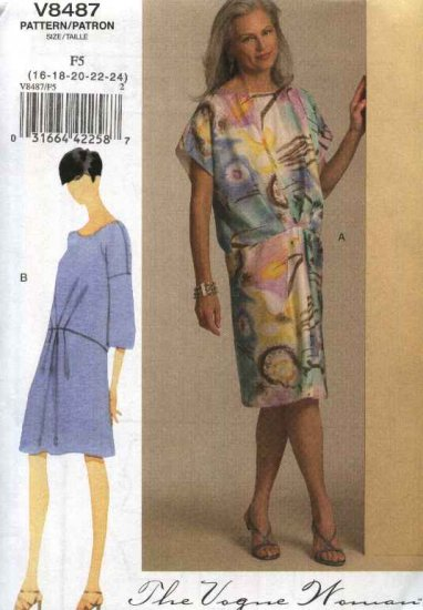 Vogue Sewing Pattern 8487 Misses Size 16-24 Easy Vogue Woman Pullover Dress