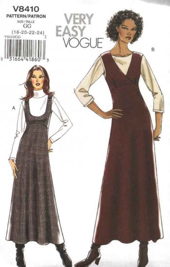Vogue Sewing Pattern 8410 Misses Size 18-24 Easy Raised Waist Empire Long Flared Skirt Jumper