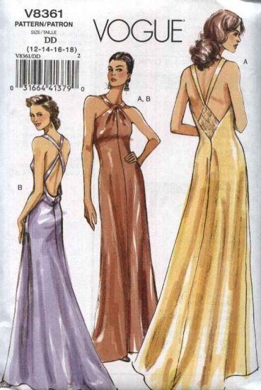 Vogue Sewing Pattern 8361 Misses Size 12-18 Easy Halter Long Evening Gown Formal Prom Dress