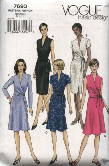 Vogue Sewing Pattern 7693 Misses Size 18-22 Easy Classic Mock Front Wrap Dress