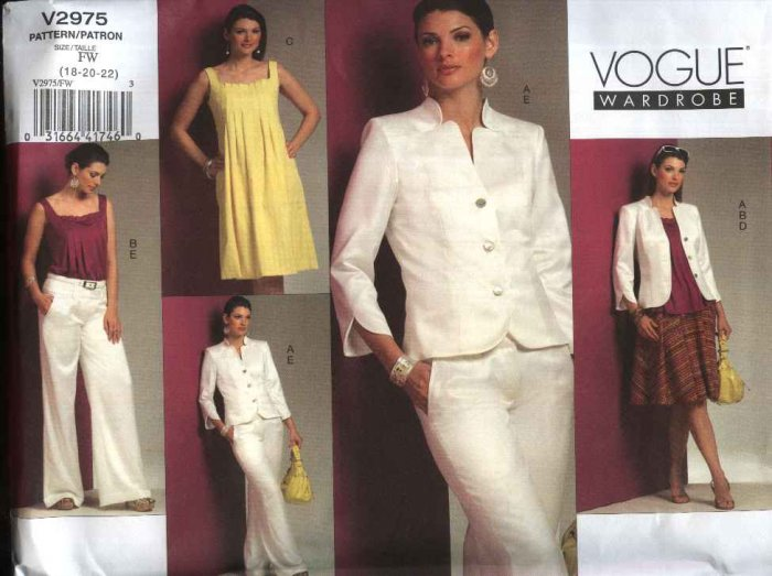 Vogue Sewing Pattern 2975 Misses Size 18-22 Wardrobe Lined Jacket Top Dress Fitted Skirt Pants