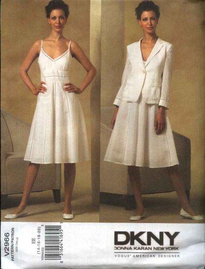 Vogue Sewing Pattern 2966 Misses Size 14-20 DKNY Donna Karan Summer Dress Jacket Sundress