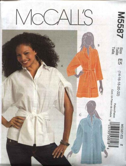 McCall's Sewing Pattern 5587 Misses Size 14-22 Button Front Shirt Top Tunic Sash Sleeve Variations