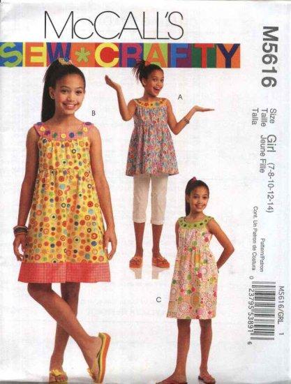 McCall's Sewing Pattern 5616 Girls Size 7-14 Sleeveless Sundress SummerRaised Waist Dress Top
