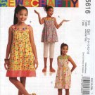 McCall's Sewing Pattern 5616 Girls Size 7-14 Sleeveless Sundress SummerRaised Waist Dress Top