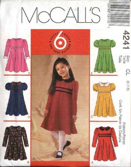 McCall's Sewing Pattern 4241 Girls Size 6-8 Easy Raised Waist Flared Skirt Short Long Sleeve Dress